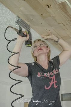 How To Plank A Popcorn Ceiling How To Plank A Popcorn Ceiling Plank A Popcorn Ceiling With Lightweight Tongue And Groove Wood Planks How To Plank A Popcorn Ceiling Edith Evelyn Vintage Www Edithandevelynvintage Com Wood Plank Ceiling, Shiplap Ceiling, Wood Ceilings, Wood Planks, Wood Wall, Repair Ceilings, Coffered Ceilings, Pallet Ceiling, Plank Walls