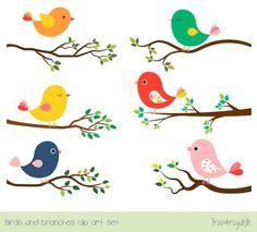 Cute bird clipart set Tree branch clip art Colorful spring bird clip art Whimsical digital love b Vogel Clipart, Bird Clipart, Spring Birds, Spring Art, Spring Summer, Cartoon Birds, Bird Embroidery, Mothers Day Crafts For Kids, Bird Theme