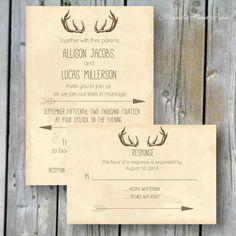 Antler Wedding Invitation, Custom Printable, Includes RSVP, Rustic Deer Antler and Arrow Wedding Suite, Vintage Antler Wedding Invitation