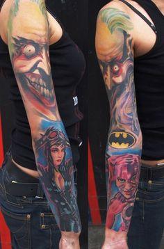 Batman sleeve by germex73 Harley Quinn Tattoo, Harley Y Joker, Joker Batman, Joker Comic, Great Tattoos, Body Art Tattoos, New Tattoos, Tatoos, Anime Tattoos