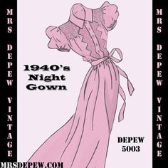 Vintage Sewing Pattern 1940's Night Gown in Any Size  by Mrsdepew, $7.50