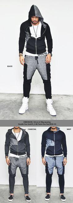 Gymwear Set :: Easy Semi Baggy Fit Contrast Cargo-Gymwear 05 - Mens Fashion Clothing For An Attractive Guy Look