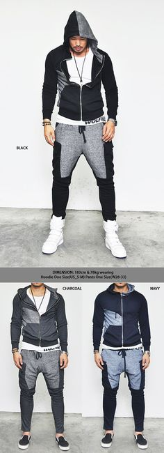 Gymwear Set :: Easy Semi Baggy Fit Contrast Cargo-Gymwear 05 - Mens Fashion Clothing For An Attractive Guy Look