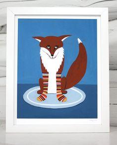 Fox in Sox nursery art print by sloeginfizz on Etsy, $25.00