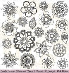 Doodle+Flowers+Silhouettes+Clipart+Clip+Art+Doodle+by+PinkPueblo by marie