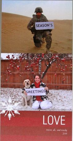What an awesome way to continue tradition even when military life has other plans (how sweet! I hope none of my military friends never have to spend Christmas away from their spouses - but pinning just in case) Family Christmas Cards, Christmas Photos, Holiday Cards, Christmas Ecards, Funny Christmas, Christmas Ideas, Xmas Pics, Merry Christmas, Holiday Pics