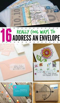 Mail Art - 16 really cool ways to address an envelope! Mail Art - 16 really cool ways to address an envelope! Envelopes Decorados, Karten Diy, Envelope Art, Address An Envelope, How To Address Envelopes, Addressing Envelopes, Hand Lettering Envelopes, Letter Writing, Diy Cards