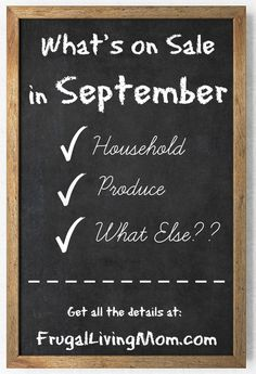 This is an awesome list of the types of things that go on Sale in Sept.  I could save so much just by making big purchases in the months they go on sale.  Must pin!