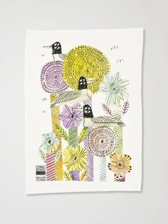Flower and Birds X Marcus Oakley Tea Towel by Third Drawer Down