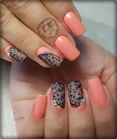 and Beautiful Nail Art Designs Cute Nail Art, Gel Nail Art, Beautiful Nail Art, Short Nail Designs, Nail Art Designs, Shellac Nails, Acrylic Nails, Lace Nails, Square Nails