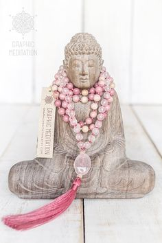Rose quartz mala beads 108 Rhodonite necklace by GraphicMeditation