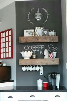 Coffee Bar Ideas - Looking for some coffee bar ideas? Here you'll find home coffee bar, DIY coffee bar, and kitchen coffee station. Coffee Nook, Coffee Bar Home, Coffee Bars, Coffee Shops, Coffe Bar In Kitchen, Coffee Tables, Coffe Corner, Tea Bars, Corner Bar