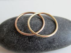 14k Solid Gold or 14k Solid Rose Gold Thin Round by aprilandjune
