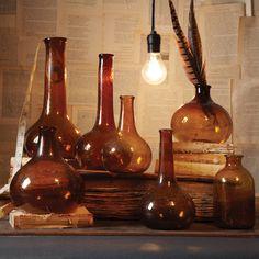 Amber Vintage Bottles