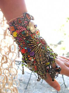 Cosmic Invasion Gypsy Jangle Bracelet, Bejewelled, Kuchi, Rainbow, Heavily Encrusted, Bohemian. , via Etsy.