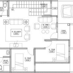 Wow ! Ini Dia Denah Rumah Minimalis Type 45 3 Kamar Terbaru Minimalist House Design, Minimalist Home, Type 45, House Layouts, Bungalow, Projects To Try, Floor Plans, Interior, Modern
