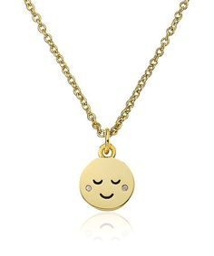 Look what I found on #zulily! Cubic Zirconia & Gold Smiley Face Cheeks Pendant Necklace by Little Miss Twin Stars #zulilyfinds