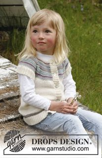 "Knitted DROPS jacket with round yoke in ""BabyAlpaca Silk"". Size 3 to 12 years. ~ DROPS Design"