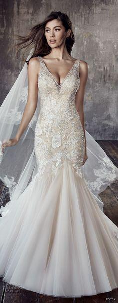 eddy k 2018 bridal sleeveless v neck heavily embellished bodice elegant sexy mermaid wedding dress open v back chapel train (ct187) zv mv -- Eddy K. Couture 2018 Wedding Dresses