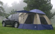 This is the SUV tent we use on our camping adventures - Napier Sportz SUV Tent. It is a fantastic person tent that has been rain tested and we would highly suggest to any other campers traveling by SUV. Vw Camping, Best Camping Gear, Camping Parties, Camping Coffee, Camping Theme, Winter Camping, Beach Camping, Camping Essentials, Camping With Kids