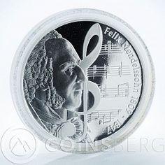 Tuvalu 1 Dollar, Felix Mendelssohn, Pianist, Great Composer, 2009, Silver coin