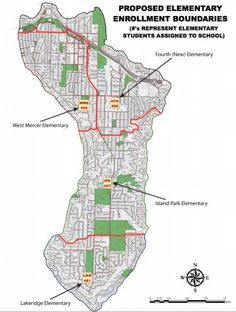 Proposed boundaries for Mercer Island's new 4th elementary school