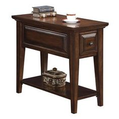 Riverside Furniture Hilborne 1 Drawer Chairside Table - 92010 - Available in Oak also. Wolf Furniture, Fine Furniture, Industrial Furniture, Living Room Furniture, Furniture Ideas, Small End Tables, Riverside Furniture, Chair Side Table, Lowes Home Improvements