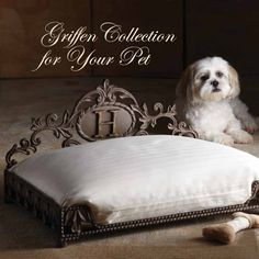 Pamper your pooch with this Griffen pet bed new from the GG Collection.  Can be personalized with a single 3 inch monogram letter (sorry, F, I, O, Q, U, X, Y, and Z not available). brbrliDimensi...