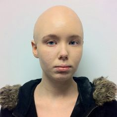 **Kryolan Bald cap** I did a pretty good job putting this bald cap on her. It's easy when the client has short hair.  Missing makeup school. :(