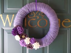 Awesome wreath for door - love the color!