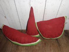3 Large Primitive Grungy Watermelon Ornies Bowl Fillers Handmade  #NaivePrimitive #Handmade