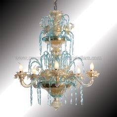 venice italy murano glass chandilers | ... gold and azure Murano glass chandelier - Murano glass chandeliers