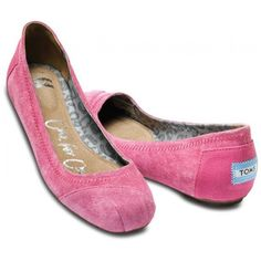 TOMS Eliana Pink Suede Women's Ballet Flats- this is the first pair of Toms I've seen that I actually think are cute!