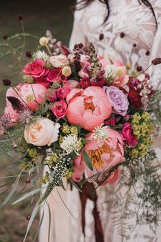 Peonies and wildflowers combine for an intoxicatingly beautiful bouquet.