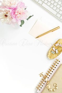 Styled Stock Photography | Cristina Elisa Photography | Cristina Elisa Images | Flatlay Styled Desk | Peonies | Pink Gold | Desk Mockup | Pinterest Layout | Vertical | Stylized photo | gold pen