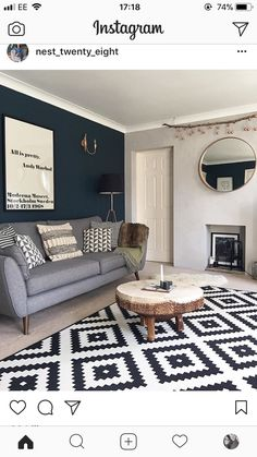 Lucinda Mitra & # s Scandi, Rustic House - Decoration Ideas Blue Feature Wall Living Room, Navy Living Rooms, Blue Living Room Decor, Living Room Color Schemes, Living Room Grey, Home Living Room, Living Room Designs, Dark Blue Feature Wall, Charcoal Sofa Living Room