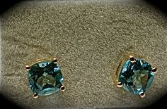 Swiss Blue Topaz  Studs in Nickel Free Sterling Silver 1.75 $32.00