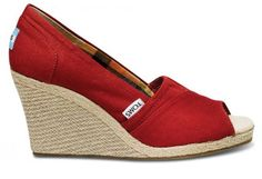 TOMS Espadrille Wedges in Red at Tony Shoes