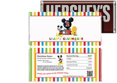 Disney Mickey Clubhouse Birthday Candy Bar Wrappers Party Favors