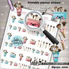 Clean Brushes Stickers Printable Planner Stickers by LetsPaperUp