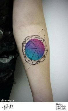 Tattoo watercolor geometric
