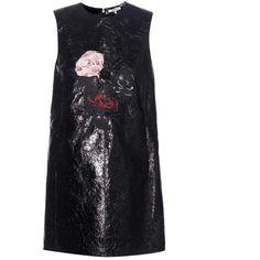 Ganni Glossed-Leather Mini Dress (99055 RSD) ❤ liked on Polyvore featuring dresses, black, shining dress, shine dress, short leather dress, leather dress and mini dress