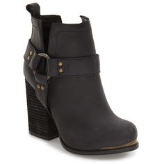 Women's Jeffrey Campbell 'Oshea' Engineer Bootie ($190) ❤ liked on Polyvore featuring shoes, boots, ankle booties, black washed, chunky heel boots, jeffrey campbell bootie, chunky heel bootie, jeffrey campbell booties and strappy ankle boots