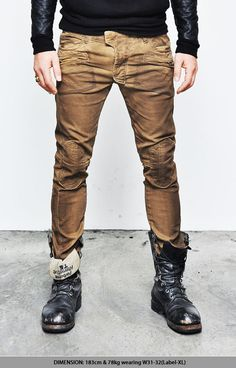 Bottoms :: Pants :: Lowrise Oil Wash Brown Skinny Biker-Pants 57 - Mens Fashion Clothing For An Attractive Guy Look