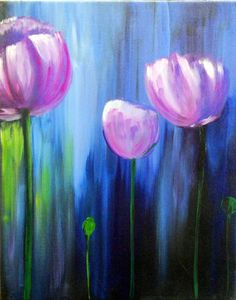 "Original Modern Flowers Acrylic Painting SALE -16""x20""inches by Kathleen Fenton"