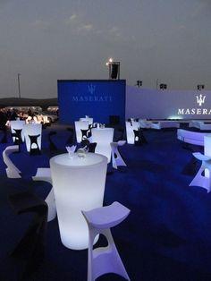 #Slide's illuminated furniture for Maserati - www.verlichtmeubilair.nl/merken/slide/kruk-koncord.html