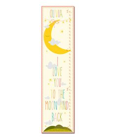 Pink 'I Love You to the Moon' Personalized Growth Chart