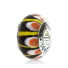 Black Murano Glass w/ Yellow Lines and White & Orange Concentric Circles #charms  #fashion