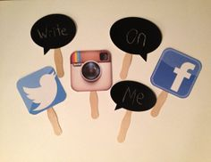 Social Media Photo Props - Chalkboard Photo Props, Wedding, Birthday, Photo Booth Props, on Etsy, $12.50