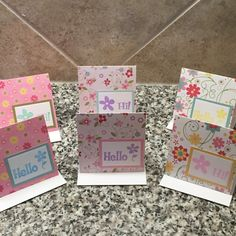 Set of Six 6 Hi/Hello Mini Cards 3x3 by CraftsByKesh on Etsy